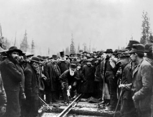 Crowd watches the CPR last spike, 1885