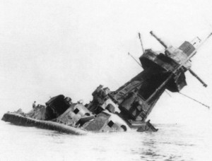 The wreck of the Graf Spee, listing