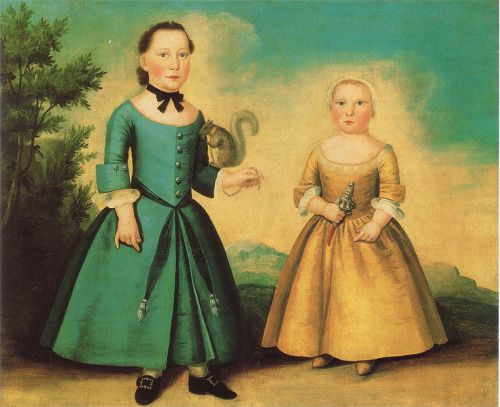 Painting of Two Young Children in Petticoats, c. 1755
