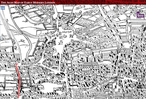 Shoe Lane to St. Giles from the Agas Map